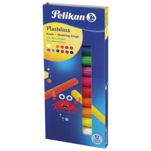Plastelin 12boja (total 120g) karton Pelikan neon