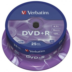 DVD+R 4,7/120 16x spindl Mat Silver pk25 Verbatim