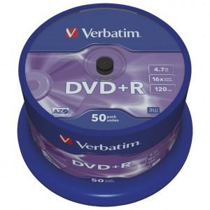 DVD+R 4,7/120 16x spindl Mat Silver pk50 Verbatim