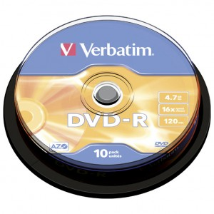 DVD-R 4,7/120 16x spindl Mat Silver pk10 Verbatim