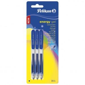 Roler 0,7mm pk3 Energy Gel G21 Pelikan plavi blister