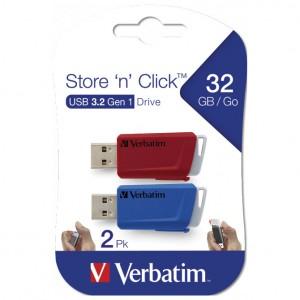 Memorija USB 2x32GB 3.0 Store'n'Click Verbatim 49308 crveni/plavi